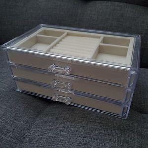 NEW acrylic jewelry box, tan velvet/clear
